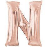 Rose Gold Letter N Balloon - 34 Foil