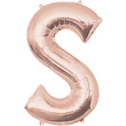 Rose Gold Letter S Balloon - 34 Foil