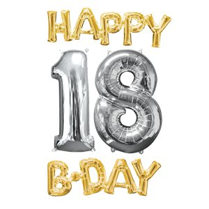 'Happy 18th Birthday' Gold & Silver Foil Balloons - 26