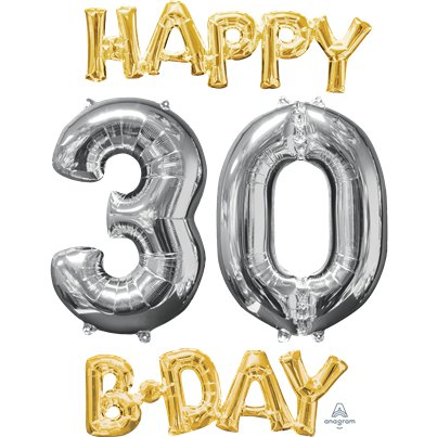 'Happy 30th Birthday' Gold & Silver Foil Balloons - 26""