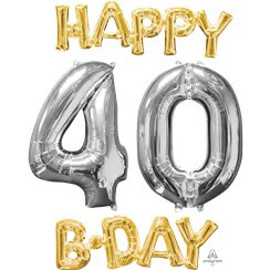'Happy 40th Birthday' Gold & Silver Foil Balloons - 26""