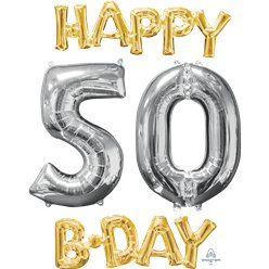 'Happy 50th Birthday' Gold & Silver Foil Balloons - 26""