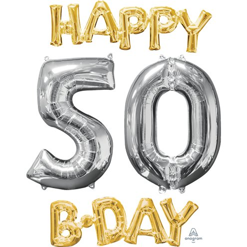 Happy 50th Birthday Gold Silver Foil Balloons