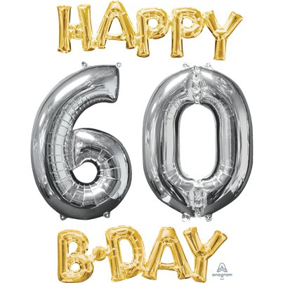 'Happy 60th Birthday' Gold & Silver Foil Balloons - 26""