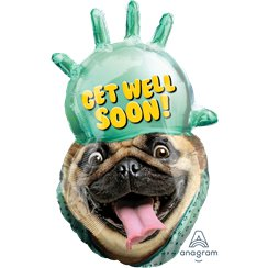 Get Well Soon Pug Foil Balloon - 32""