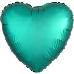 Jade Satin Luxe Heart Foil Balloon - 18""