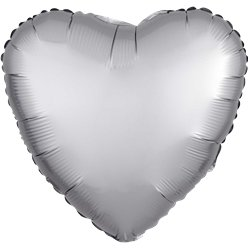 Platinum Satin Luxe Heart Foil Balloon - 18""