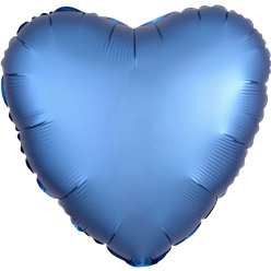 Azure Satin Luxe Heart Foil Balloon - 18""