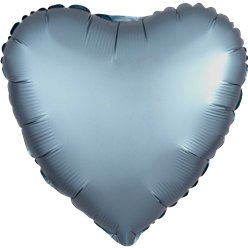 Steel Blue Satin Luxe Heart Foil Balloon - 18""