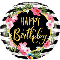 "Birthday Hibiscus Flower & Stripes Foil Balloon - 18"" Balloon"