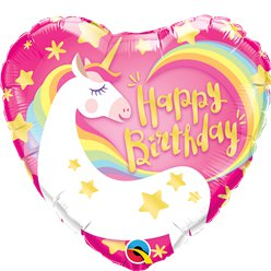 Happy Birthday Unicorn Heart Foil Balloon - 18