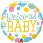 "Dotty Welcome Baby Foil Balloon - 18"" Balloon"