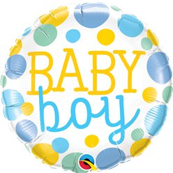 "Dotty Baby Boy Foil Balloon - 18"" Balloon"