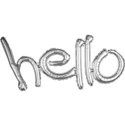 "Hello Silver Freestyle Phrase Balloon - 33"" x 18"" Foil"