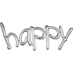 "Happy Silver Freestyle Phrase Balloon - 41"" x 20"" Foil"