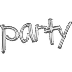 "Party Silver Freestyle Phrase Balloon - 37"" x 16"" Foil"