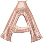"Rose Gold Letter A Air Filled Balloon - 16"" Foil"