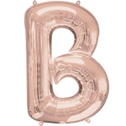 "Rose Gold Letter B Air Filled Balloon - 16"" Foil"