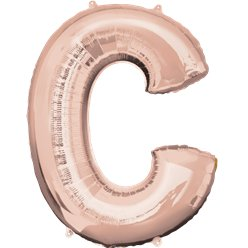 "Rose Gold Letter C Air Filled Balloon - 16"" Foil"