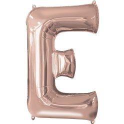 "Rose Gold Letter E Air Filled Balloon - 16"" Foil"