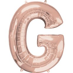 "Rose Gold Letter G Air Filled Balloon - 16"" Foil"