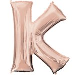"Rose Gold Letter K Air Filled Balloon - 16"" Foil"