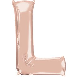 "Rose Gold Letter L Air Filled Balloon - 16"" Foil"