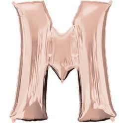"Rose Gold Letter M Air Filled Balloon - 16"" Foil"