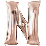 "Rose Gold Letter N Air Filled Balloon - 16"" Foil"