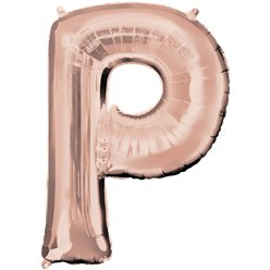 "Rose Gold Letter P Air Filled Balloon - 16"" Foil"