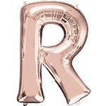 "Rose Gold Letter R Air Filled Balloon - 16"" Foil"