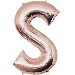 "Rose Gold Letter S Air Filled Balloon - 16"" Foil"