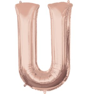 Rose Gold Letter U Air Filled Balloon - 16
