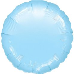 "Pastel Blue Round Balloon - 18"" Foil - unpackaged"