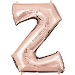 "Rose Gold Letter Z Air Filled Balloon - 16"" Foil"