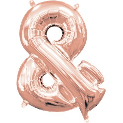 "Rose Gold Ampersand Air Filled Balloon - 16"" Foil"