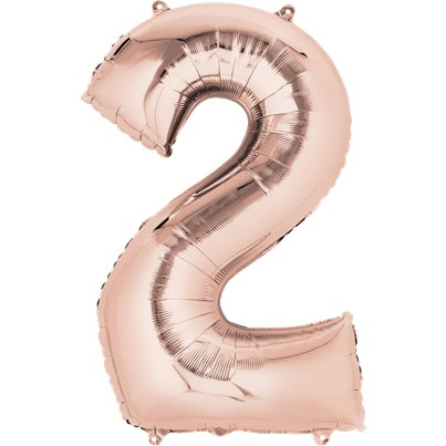 "Rose Gold Number 2 Air Filled Balloon - 16"" Foil"