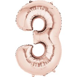 "Rose Gold Number 3 Air Filled Balloon - 16"" Foil"