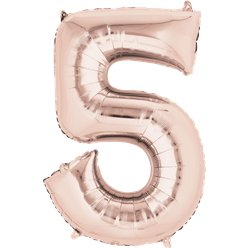 "Rose Gold Number 5 Air Filled Balloon - 16"" Foil"