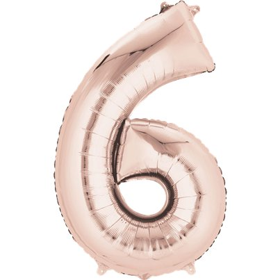 "Rose Gold Number 6 Air Filled Balloon - 16"" Foil"