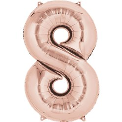 "Rose Gold Number 8 Air Filled Balloon - 16"" Foil"