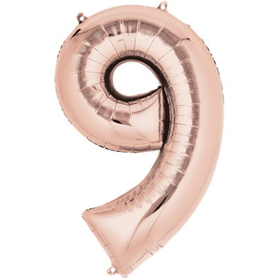 "Rose Gold Number 9 Air Filled Balloon - 16"" Foil"
