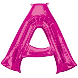 "Pink Letter A Air Filled Balloon - 16"" Foil"