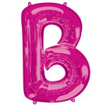 "Pink Letter B Air Filled Balloon - 16"" Foil"