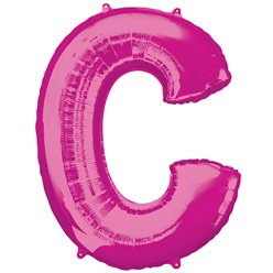 "Pink Letter C Air Filled Balloon - 16"" Foil"