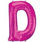 "Pink Letter D Air Filled Balloon - 16"" Foil"