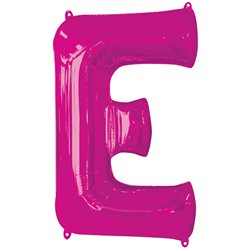 "Pink Letter E Air Filled Balloon - 16"" Foil"