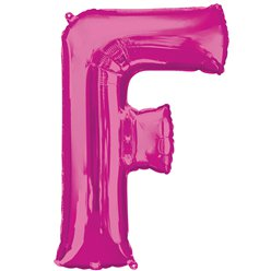 "Pink Letter F Air Filled Balloon - 16"" Foil"