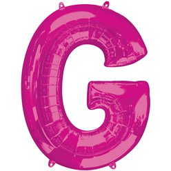 "Pink Letter G Air Filled Balloon - 16"" Foil"