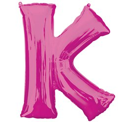 "Pink Letter K Air Filled Balloon - 16"" Foil"